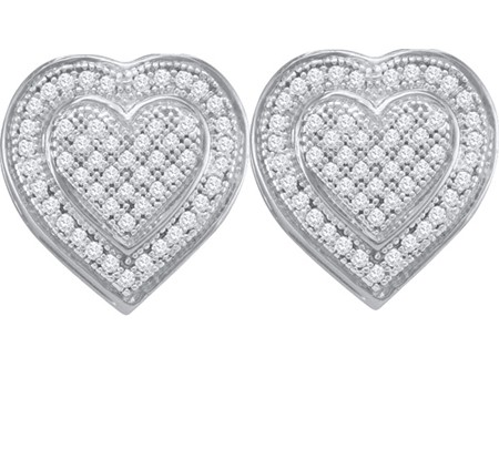 0.25ctw Diamond Micro-Pave Heart Earrings 10K White Gold