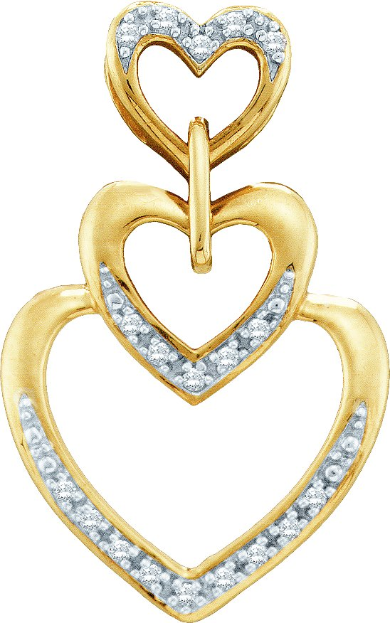 0.06ctw Diamond Heart Pendant 10K Yellow Gold