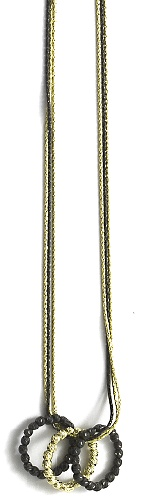 "Officina Bernardi - Interlook Collection - 16"" + 2""  Black & Gold Plated Necklace - Italian 925 Sterling Silver"