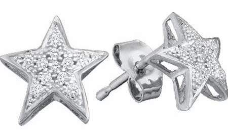 0.05ctw 22 Diamond Micro-Pave Star Earrings 10K White Gold Starfish