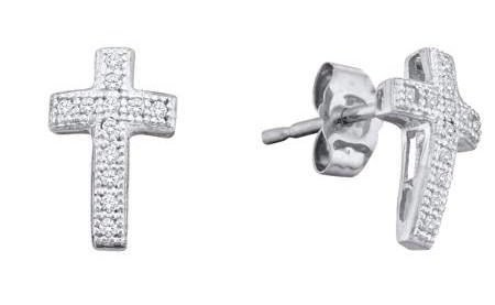0.10ctw Diamond Cross Earrings 10K White Gold