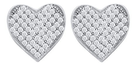 0.33ctw Diamond Heart Earrings 10K White Gold w/ 106 Diamonds