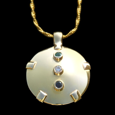 14K Gold BioElectric Shield with 3 Gemstones (85047)