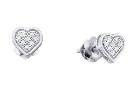 0.05ctw Diamond Heart Earrings 10K White Gold