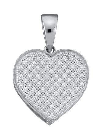 0.05ctw Diamond Heart Pendant 10K White Gold 17 Diamonds
