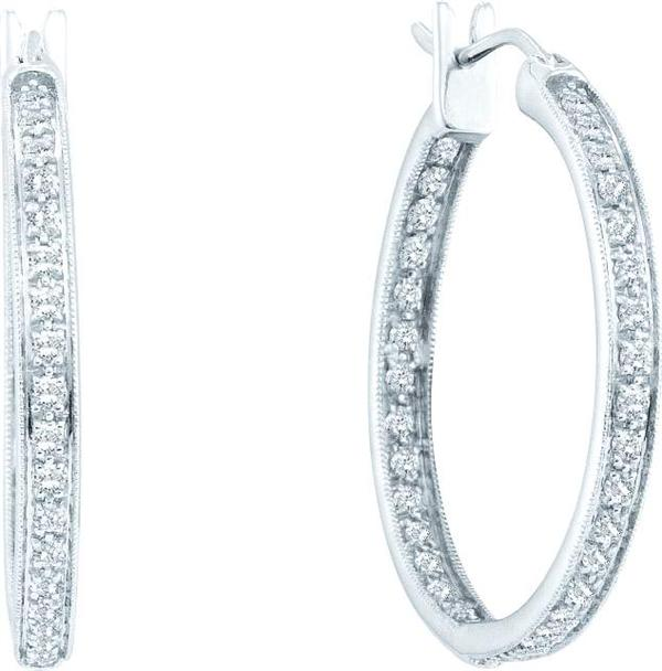 0.25ctw Diamond Fashion Hoop Inside Out Earrings 14K White Gold w/ 14 Diamonds
