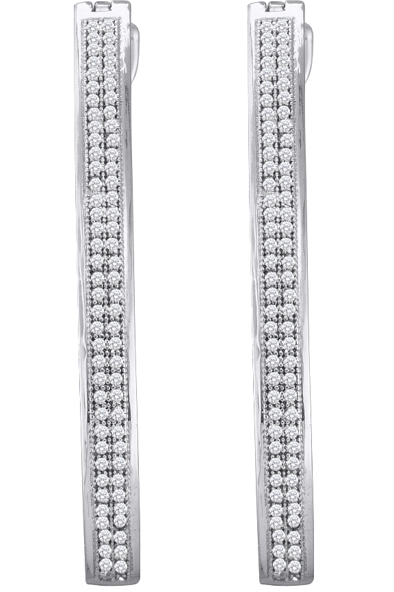 0.45ctw Diamond Micro-Pave Hoop Earrings 10K White Gold