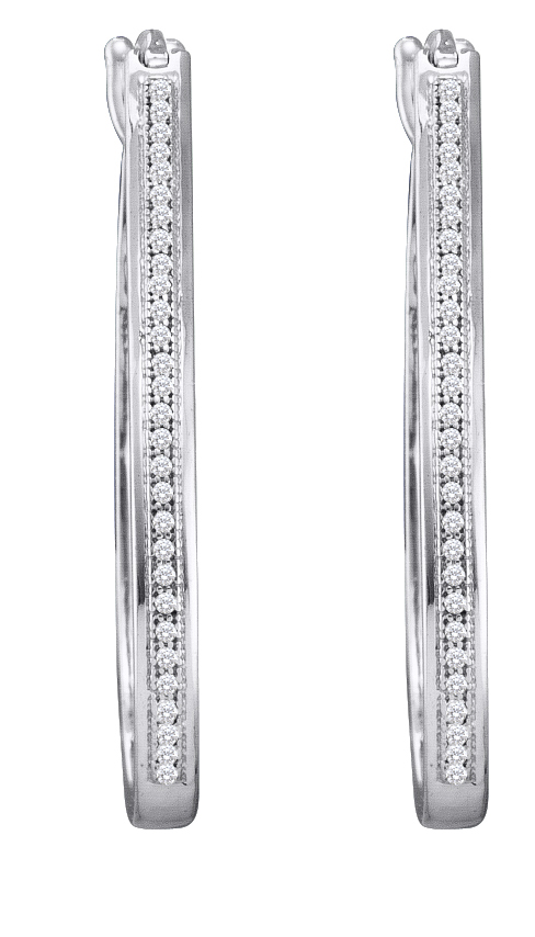 0.15ctw Diamond Micro-Pave Hoop Earrings 10K White Gold