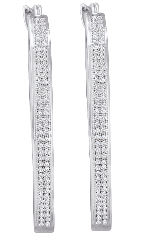 0.50ctw Diamond Micro-Pave Hoop Earrings 10K White Gold