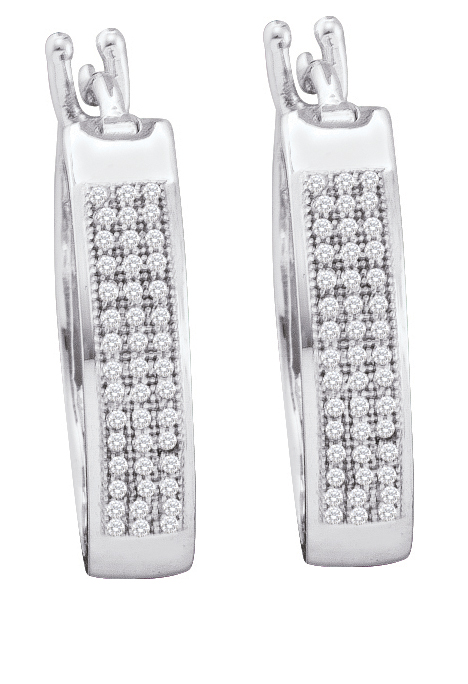 0.25ctw Diamond Micro-Pave Hoop Earrings 10K White Gold