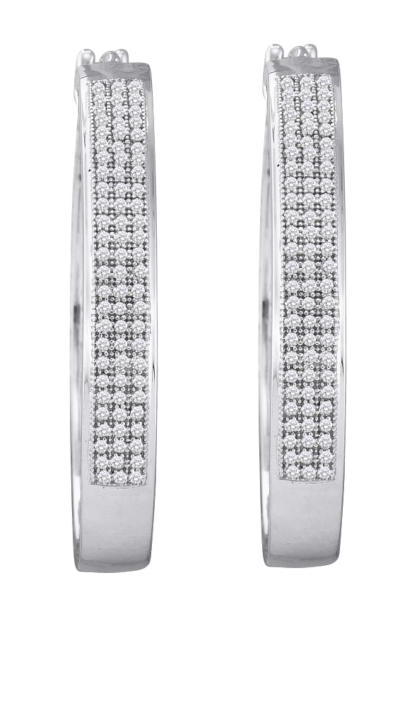 0.50ctw Diamond Micro-Pave Hoop Earrings 10K White Gold w/ 162 Diamonds
