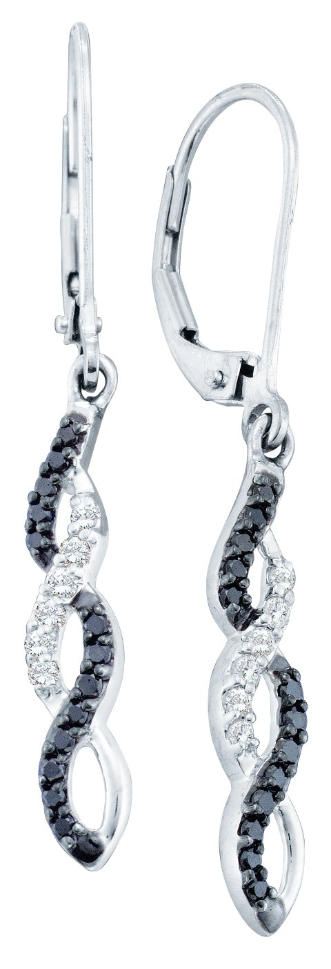0.32ctw Black Diamond Fashion Earrings 14K White Gold