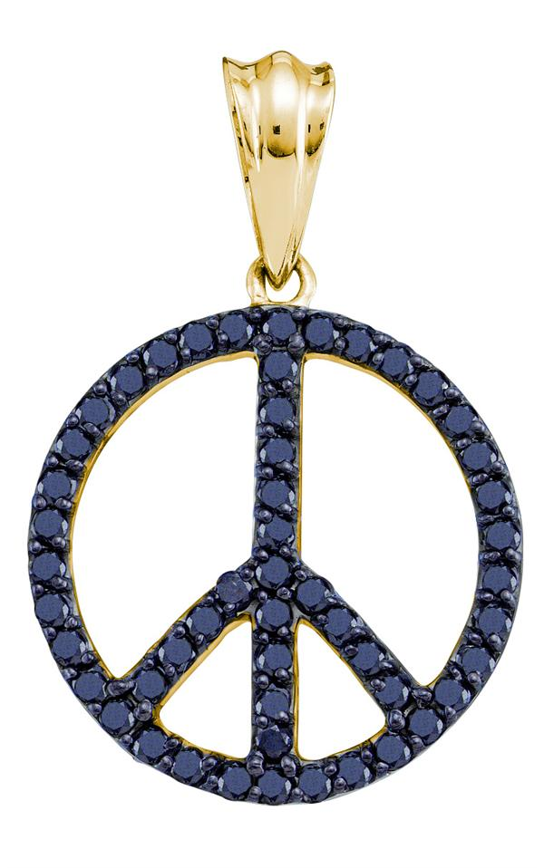 0.79ctw Black Diamond Peace Sign Fashion Pendant 14K Yellow Gold