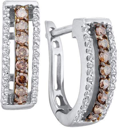 0.48ctw Brown Diamond Fashion Earrings 14K White Gold