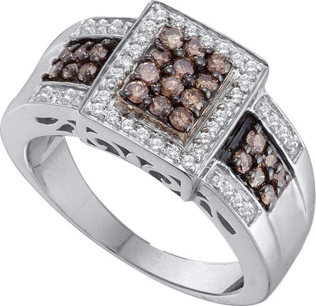 0.65ctw Brown Diamond Fashion Ring 14K White Gold