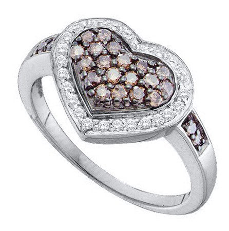 0.51ctw Brown Diamond Heart Ring 14K White Gold