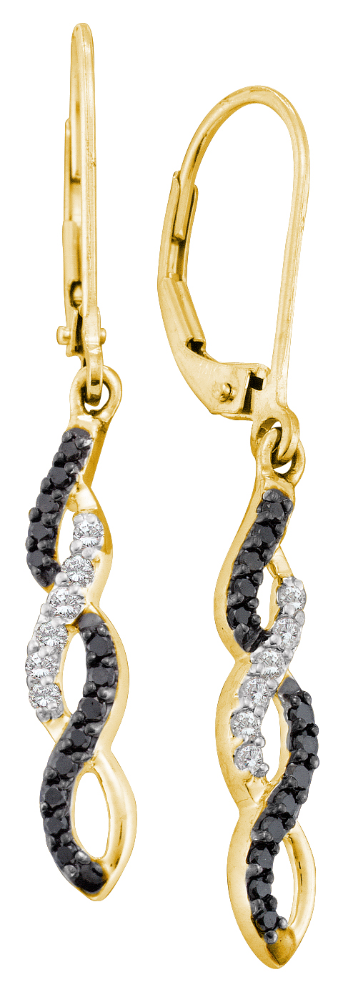 0.32ctw Black Diamond Fashion Earrings 14K Yellow Gold