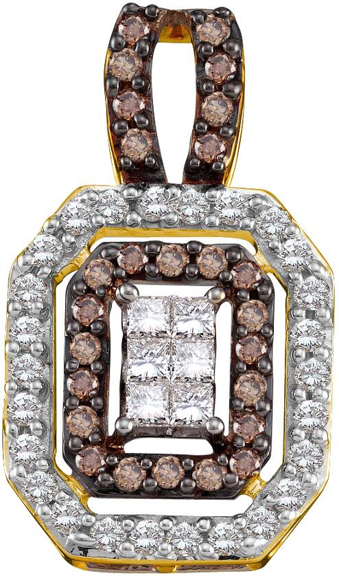 1.00ctw Brown Diamond Invisible Pendant 14K Yellow Gold 58 Diamonds