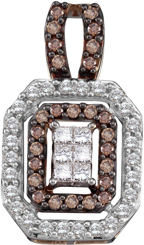 1.00ctw Brown Diamond Invisible Pendant 14K White Gold 58 Diamonds