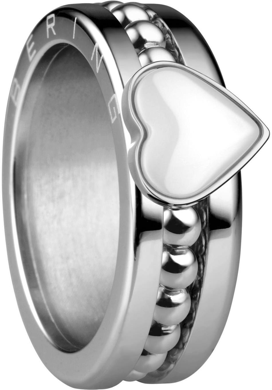 Bering - Combi-Ring - Slim Ladies Silver Plated Stainless Steel w/ White Ceramic Heart Inner Ring