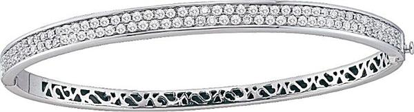 "1.50ctw 5.0mm (1/5"") Double Row Diamond Fashion Bangle 14K White Gold"