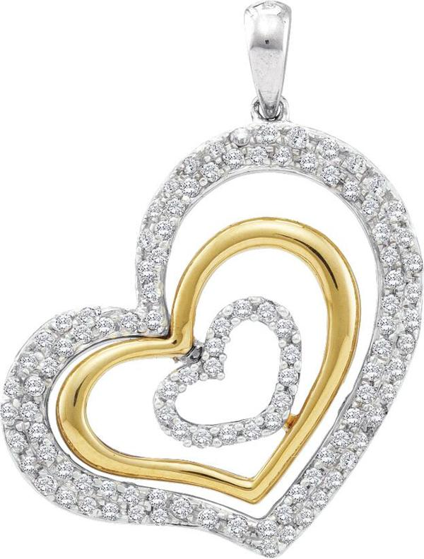 0.50ctw Diamond Heart Pendant 14K White & Yellow Gold