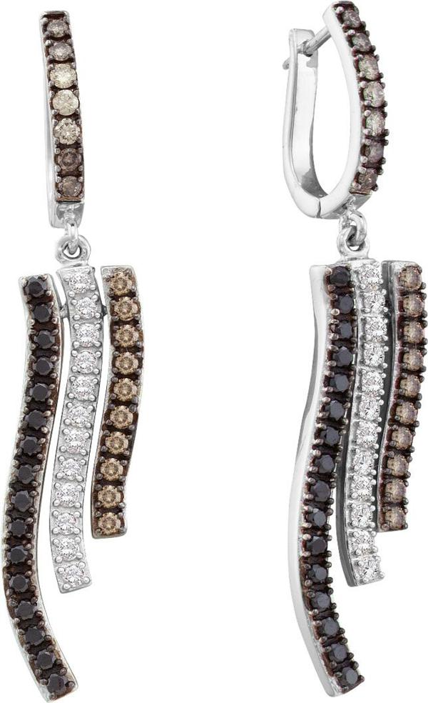 1.0ctw Brown Diamond Fashion Earrings 14K White Gold