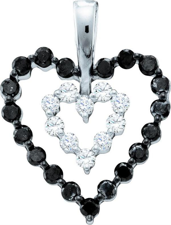 0.68ctw Black Diamond Heart Pendant 14K White Gold