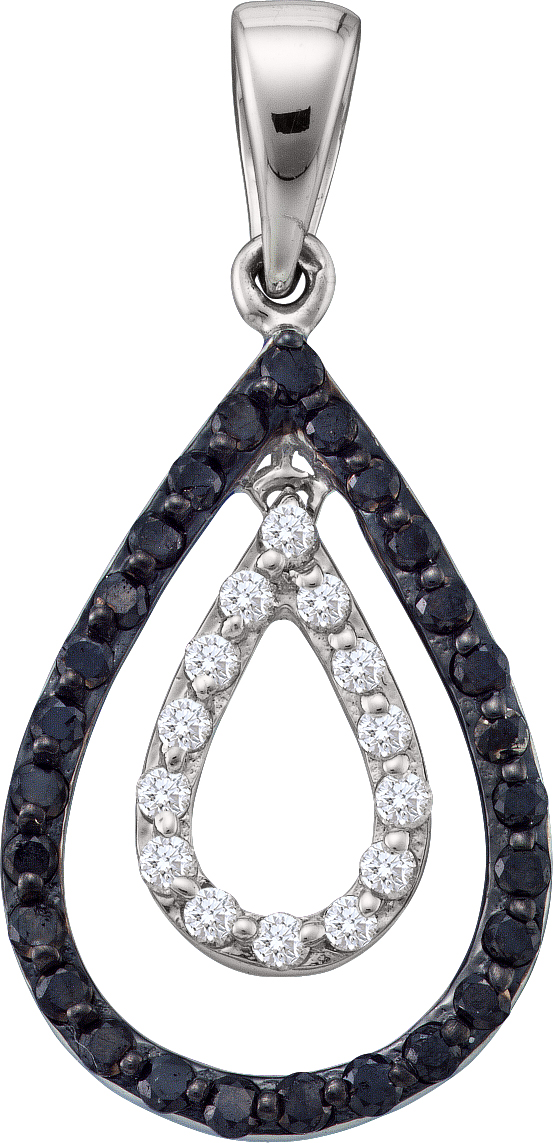 0.46ctw Black Diamond Fashion Pendant 14K White Gold