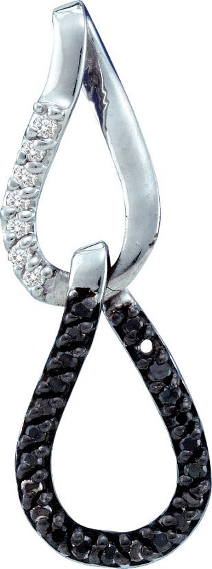 0.14ctw Black Diamond Fashion Pendant 14K White Gold