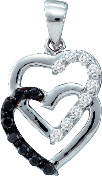0.30ctw Black Diamond Heart Pendant 14K White Gold