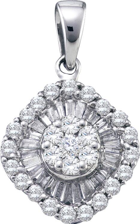 0.80ctw Diamond Flower Pendant 14K White Gold