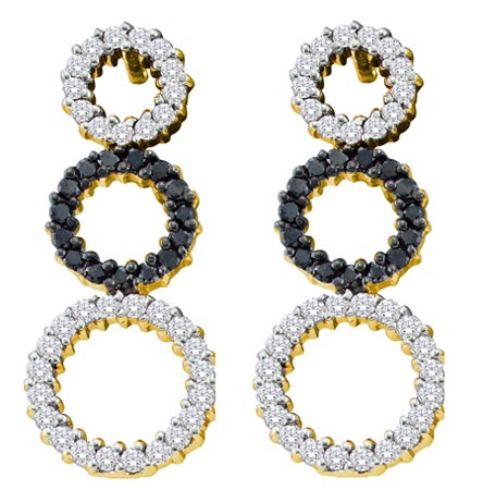 0.78ctw Black Diamond Fashion Earrings 14K Yellow Gold