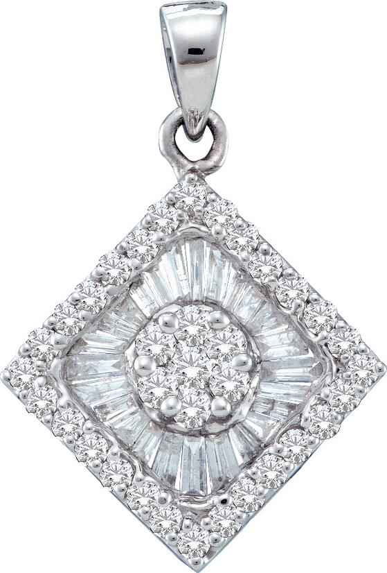 0.97ctw Diamond Flower Pendant 14K White Gold