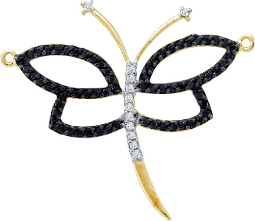 0.44ctw Black Diamond Butterfly Pendant 14K Yellow Gold
