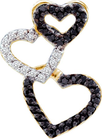 0.27ctw Black Diamond Heart Pendant 14K Yellow Gold