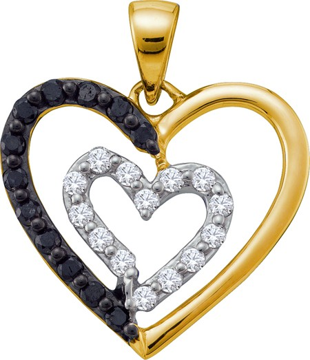 0.48ctw Black Diamond Heart Pendant 14K Yellow Gold