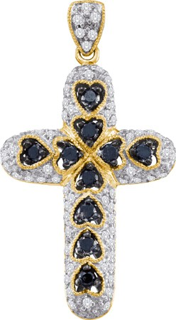 0.78ctw Black Diamond Cross Pendant 14K Yellow Gold