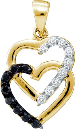 0.30ctw Black Diamond Heart Pendant 14K Yellow Gold