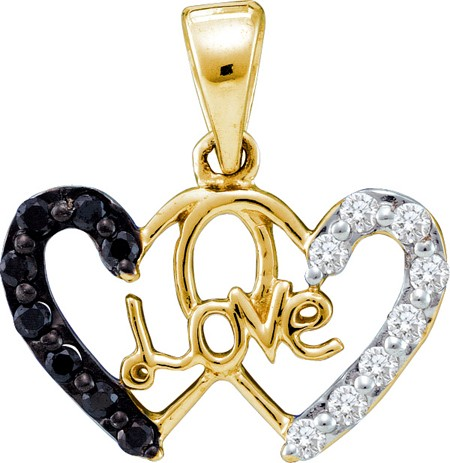 "0.22ctw Black Diamond Double Heart w/ ""Love"" Pendant 14K Yellow Gold"