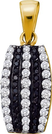 0.39ctw Black Diamond Fashion Pendant 10K Yellow Gold