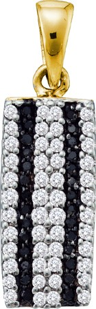0.36ctw Black Diamond Micro-Pave Pendant 10K Yellow Gold