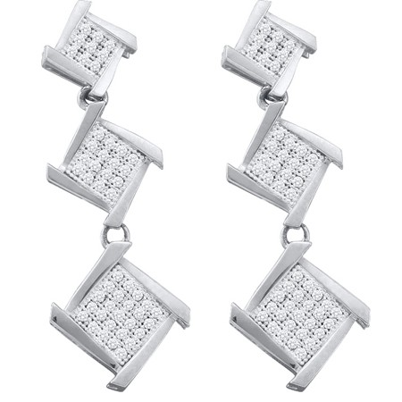 0.30ctw Diamond Micro-Pave Triple Level Earrings 10K White Gold