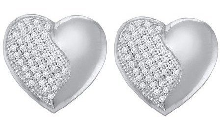 0.25ctw Diamond Heart Earrings 10K White Gold w/ 88 Diamonds
