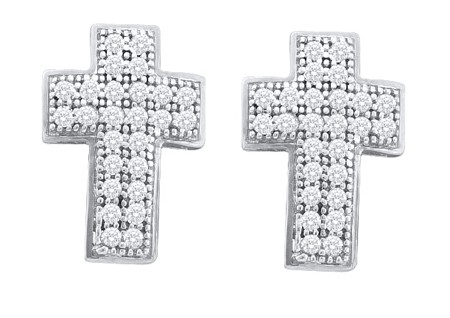0.15ctw Diamond Cross Earrings 10K White Gold