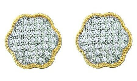 0.20ctw Diamond Micro-Pave Earrings 10K Yellow Gold