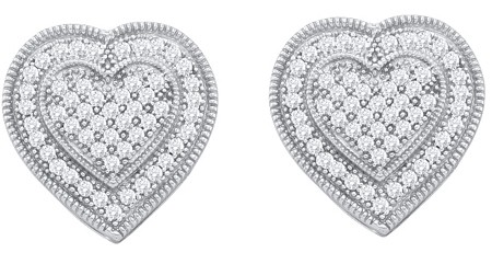 0.33ctw Diamond Heart Earrings 10K White Gold