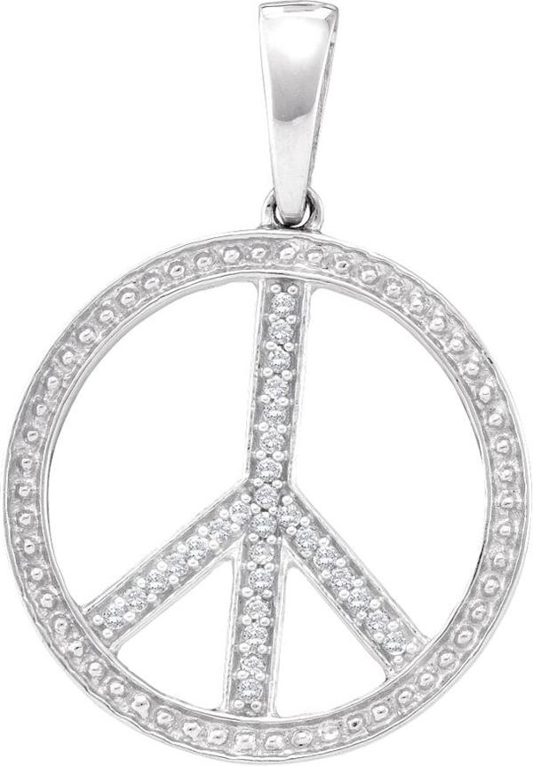0.10ctw Diamond Fashion Peace Sign Pendant 10K White Gold 29 Diamonds