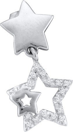 0.10ctw Diamond Star Earrings 10K White Gold