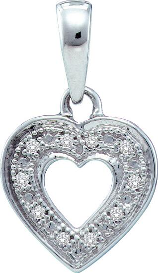 0.02ctw Diamond Heart Pendant 10K White Gold 10 Diamonds